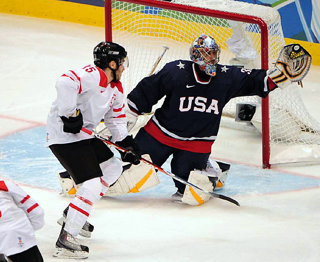 Ryan Miller made 19 saves to backstop the victory and move the Americans within two wins of their first men's hockey gold medal in 30 years.