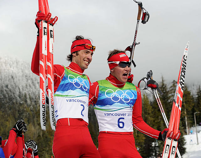 Bill Demong (6) won gold and teammate Johnny Spillane (2) grabbed silver as the U.S. dominated the Nordic Combined.
