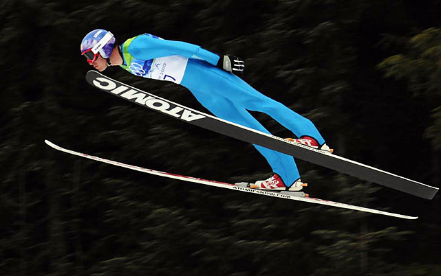 Bill Demong was in sixth place and 46 seconds behind the leader after the ski jump portion of the Nordic Combined. He made up the difference in the long hill competition.