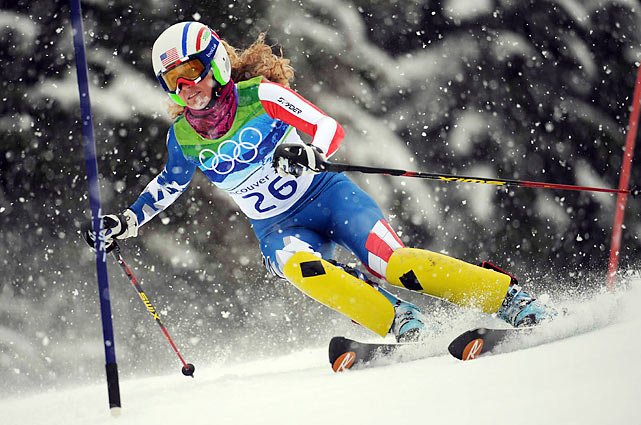 Sarah Schleper was the top American, finishing 16th -- after a team doctor sewed five stitches in her bloodied chin before her second run.