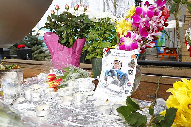 Memorials were set up in memory of Georgian luger Nodar Kumaritashvili, who died on Friday. The turn where he crashed now has a higher wall and there's padding on the steel poles along the finishing curve.