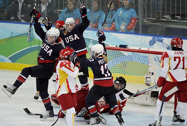 Jenny Potter turned in her first Olympic hat trick and became the leading scorer in U.S. Olympic history as her ice hockey squad defeated China 12.1.