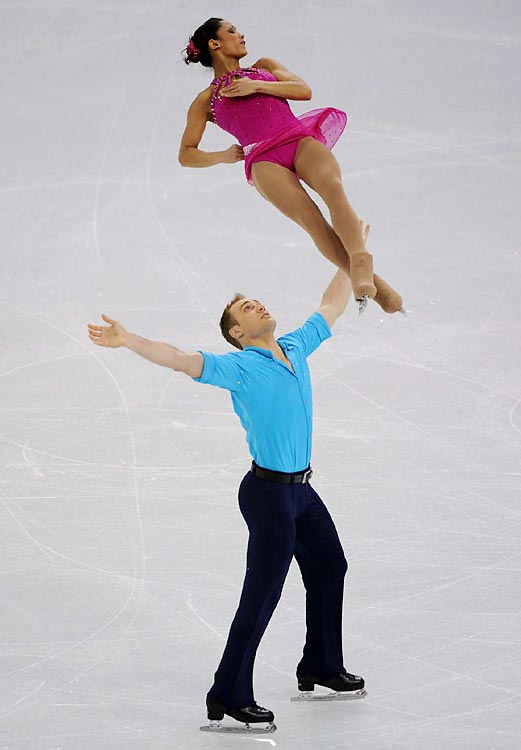 Amanda Evora and Mark Ladwig, surprise silver medalists at last month's U.S. championships, are 10th after the performance of their career at their first major international event.