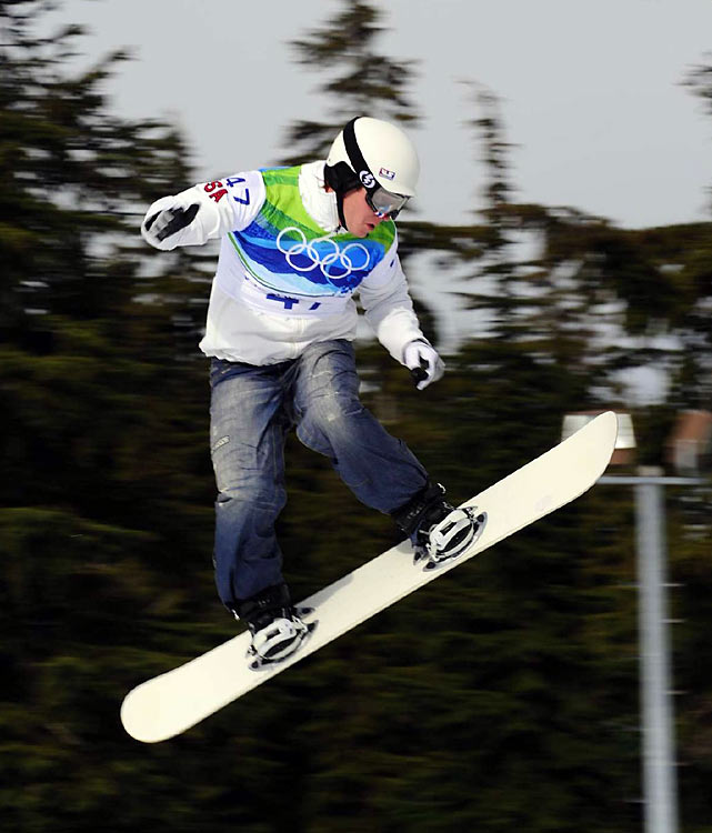 Nate Holland of the U.S., a five-time Winter X Games champ, spun out early in the final foursome.