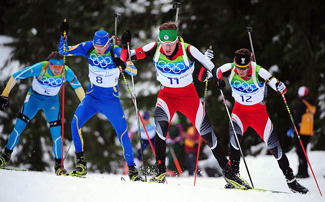 Bjorn Ferry (No. 8) is Sweden's gold man in biathlon pursuit. Ferry became the first Swedish man to win a Winter Olympic gold since Klas Lestander won the 20K race at Squaw Valley in 1960.