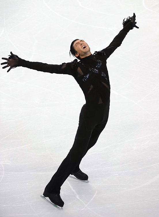 Evan Lysacek of the U.S. is in second place after the men's short program. He's trying to become the first American since Brian Boitano in 1998 to win gold.