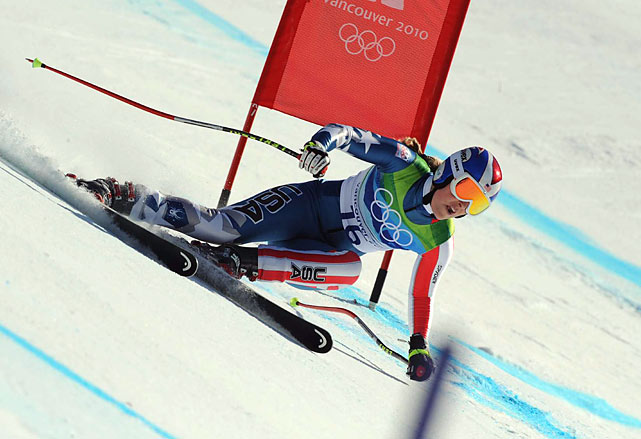 Lindsey Vonn won the women's downhill in 1 minute, 44.19 seconds -- more than a half-second quicker than anyone else -- to collect her first career Olympic medal. It was the first downhill gold for an American woman.