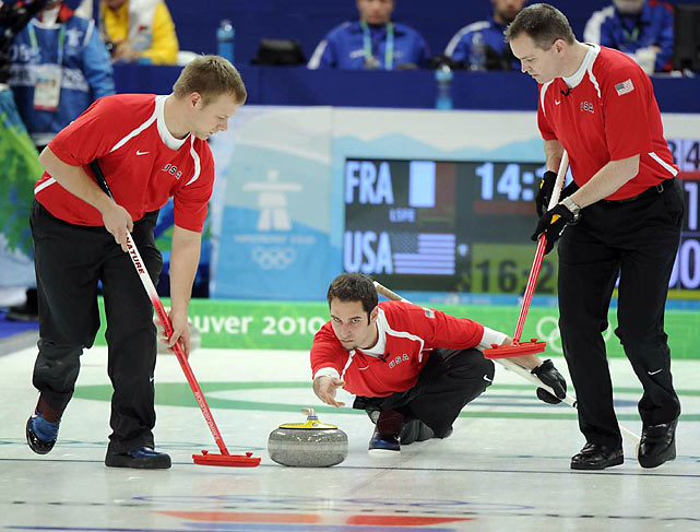 The U.S. men's and women's curling teams responded to the arrival of their honorary captain -- San Francisco 49ers tight end Vernon Davis -- by winning for the first time. Vice skip Jason Smith threw the the last rock in USA's 4-3 victory over France.