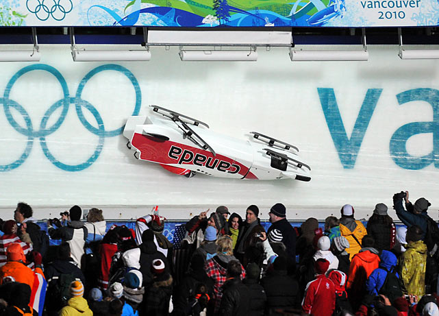 There were four crashes on the first day of bobsled competition, including one involving Canada's top sled.