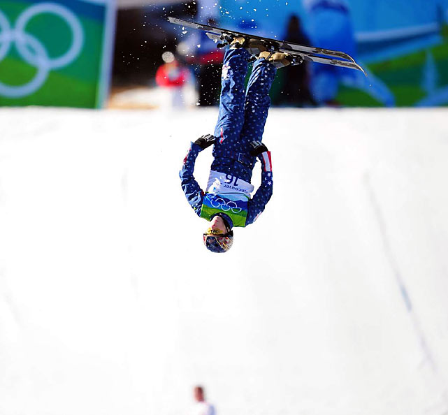 No American woman had advanced past qualifying in freestyle aerials since 1998. This time, three made it to Wednesday's final: Emily Cook, Lacy Schnoor (pictured) and 16-year-old Ashley Caldwell.