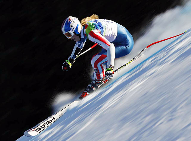 Lindsey Vonn finished two spots and 0.74 behind gold medalist Andrea Fischbacher of Austria in the super-G for a record seventh U.S. Alpine medal. She plans to race in Wednesday's giant slalom and Friday's slalom, the last two women's events.
