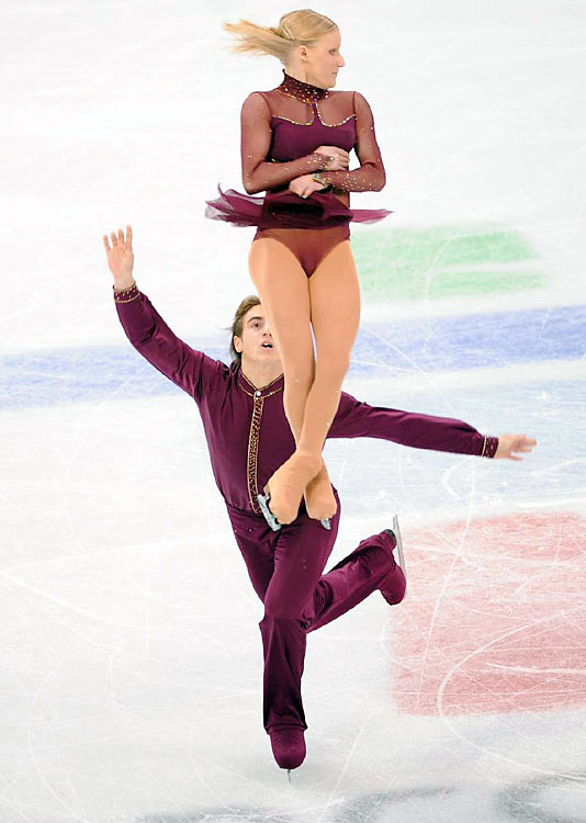 Switzerland's Anais Morand and Antoine Dorsaz.