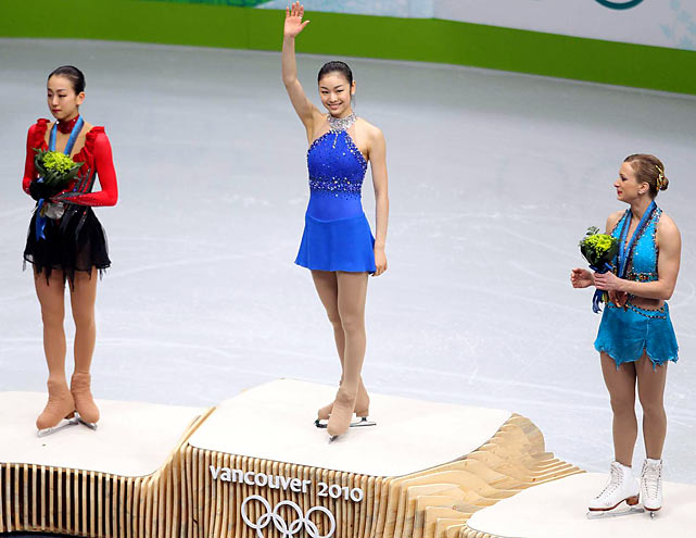 Mao Asada of Japan (silver), Kim Yu-Na of South Korea (gold), Joannie Rochette of Canada (bronze)