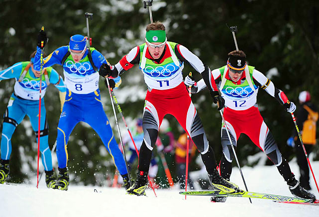 (Left-Right) Andriy Deryzemlya of the Ukraine, Bjorn Ferry of Sweden, Simon Eder of Austria and Christoph Sumann of Austria.