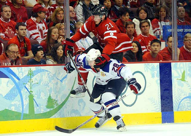 Canadian forward Eric Staal commits a holding penalty on Brian Rafalski late in the second period.