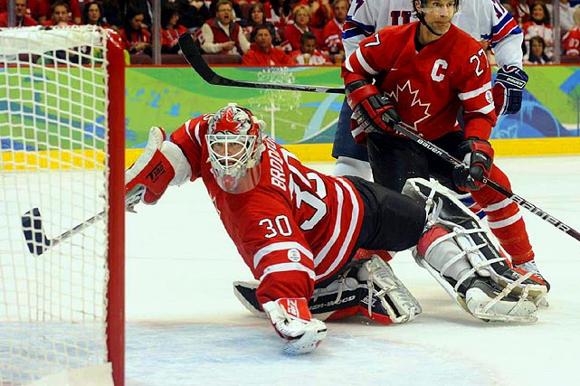 Martin Brodeur appeared shaky between the pipes for Canada, stopping 19 of 23 shots.