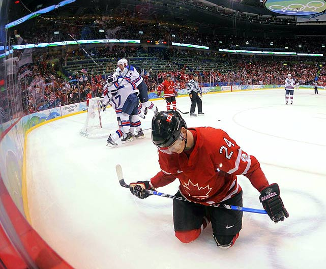 Team USA pulled off the country's biggest Olympic hockey upset since the Miracle on Ice, stunning Canada 5-3 on Sunday.  It was the United States' first win over Canada in Olympic men's hockey since 1960.  The Americans not only win Group A over Canada, but will have one of the top-two seeds in Wednesday's quarterfinal round.  Canadian forward Corey Perry's reaction to American Ryan Kesler's empty net goal with 45 seconds left summed up the feeling across the host nation of Canada.