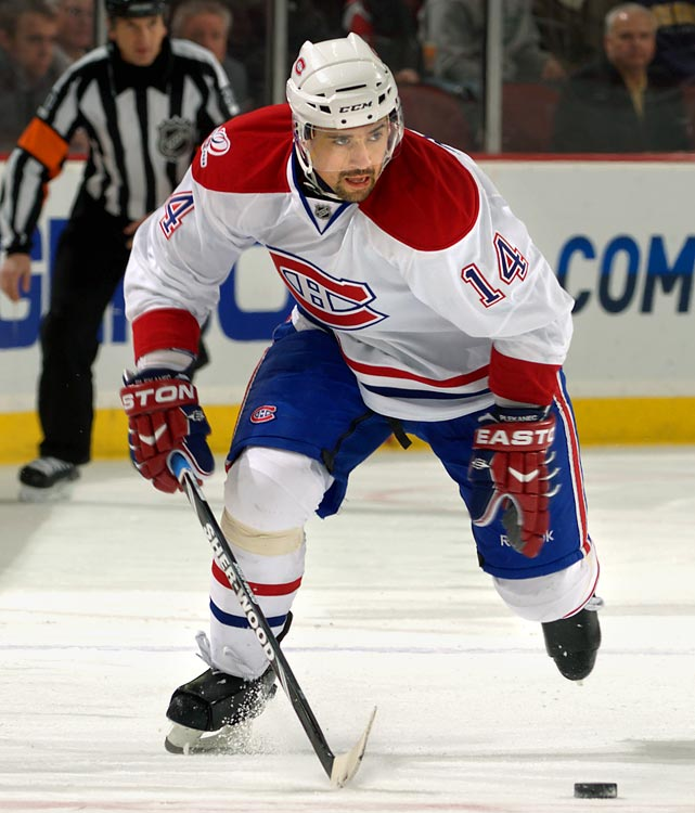 Quick...name the leading Czech-born scorer in the NHL. Alright, with his photo here we weren't exactly asking you to solve the Voynich Manuscript, but the emergence of Plekanec as one of the game's most graceful passers has been one of the season's unlikeliest success stories. Czech GM Vladimir Rucizka said Plekanec will center the top line between Jagr and Patrik Elias, which should make for a dynamic unit and an intriguing audition for a new NHL team. The Habs may have trouble re-signing the impending RFA, and Elias' Devils could use a talented pivot. If the duo has chemistry...