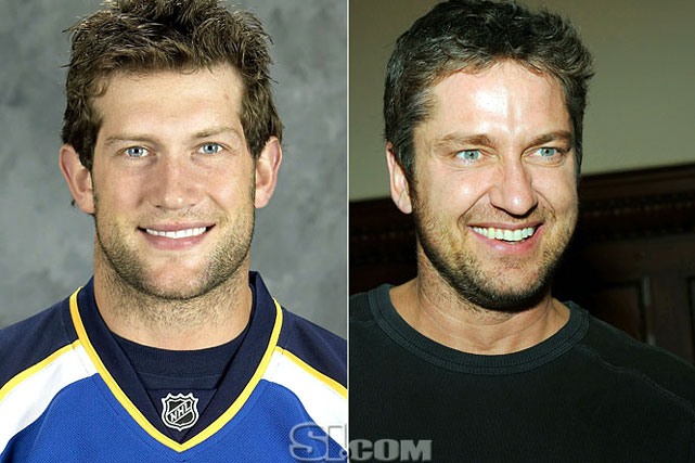 <b>David Backes</b> - <i>right wing, USA</i><br> <b>Gerard Butler</b> - <i>actor</i>
