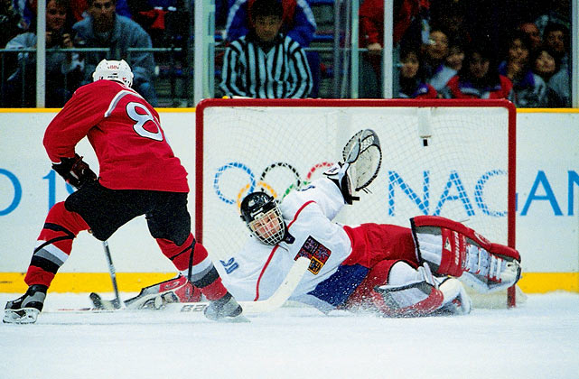 The underdog Czechs weren't the best team entered in the 1998 Nagano Games, but they had the advantage of dressing the best player. The Dominator allowed just six goals in six tournament games, including a 1-0 blanking of Russia in the gold medal match. His flawless shootout performance against the favored Canadians in the semis sealed his reputation as the game's most intimidating presence. After Robert Reichel beat Patrick Roy on the first attempt of the shootout, Hasek stoned all five shooters, four of whom went wide trying to find the hole that didn't exist in his Olympic armor.