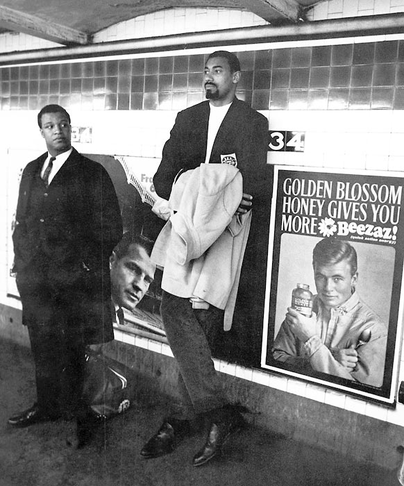 "Chamberlain was as known for his massive stature as he was for his smooth moves on the court. Nicknamed ""Wilt the Stilt,"" ""The Big Dipper"" and ""Goliath."" Imagine seeing him in a New York City subway station."