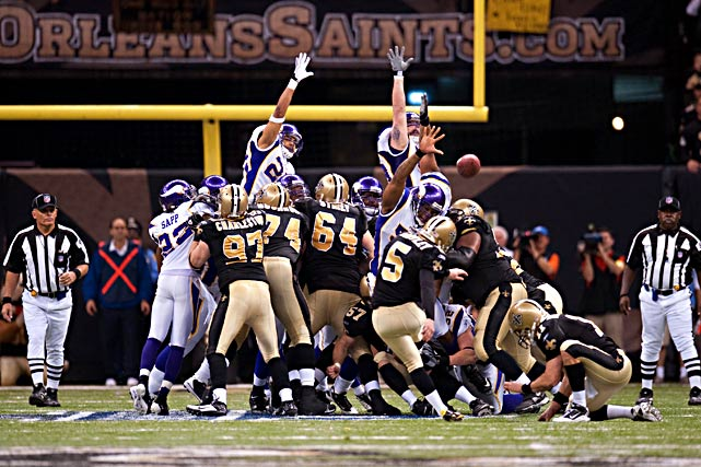 Saints kicker Garrett Hartley had a premonition that he'd kick the game-winning field goal from 42 yards out. He wasn't off by much, nailing this 40-yarder in overtime to send New Orleans to the Super Bowl.