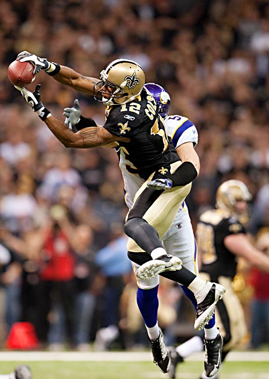 One of the Saints' key weapons, Marques Colston made only two receptions, for 22 yards.