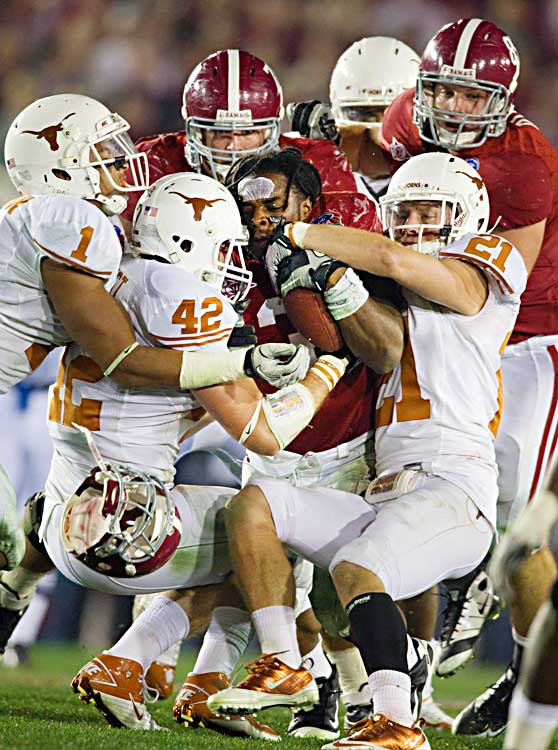 Texas' defense slowed Alabama backs Richardson (pictured) and Ingram in the second half, but by that point the Tide had built what proved to be an insurmountable lead.