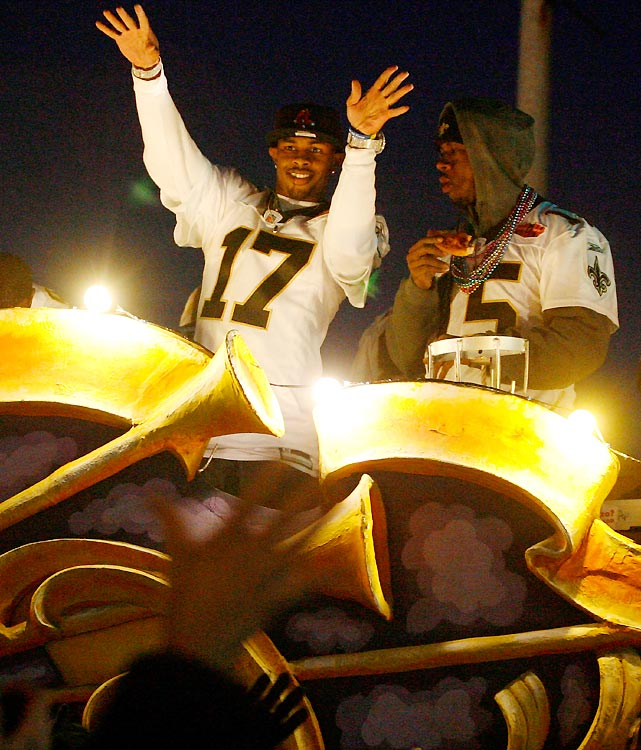 Robert Meachem (left) and Courtney Roby helped bring Mardi Gras to the Big Easy a week before Fat Tuesday.