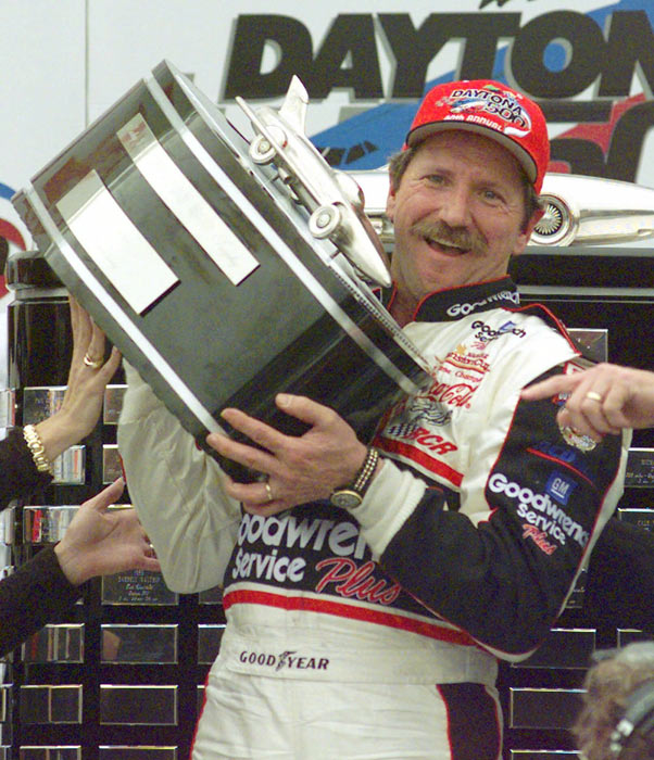 Dale Earnhardt wins NASCAR's Daytona 500 for the first time. The win occurred on his 20th attempt.