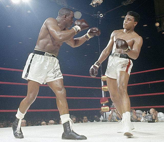 Muhammad Ali TKOs Sonny Liston in seven rounds for heavyweight boxing title.
