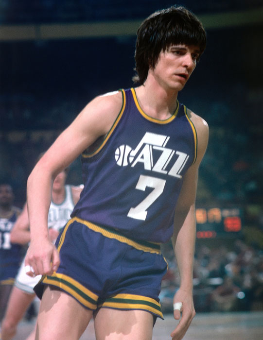"""""""Pistol"""" Pete Maravich scores a career-high 68 points as the New Orleans Jazz defeated New York 124-107. Only five NBA players have ever scored more than 68 points in a game."""