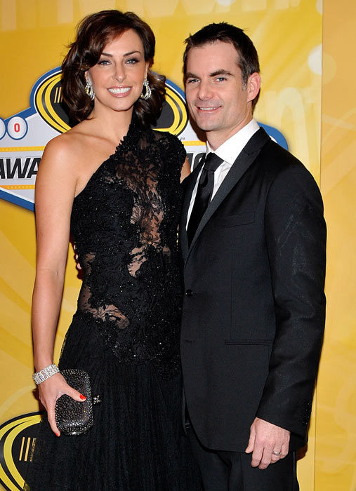 Jeff Gordon and his wife Ingrid Vandebosch pose on the red carpet for the NASCAR Sprint Cup Series awards banquet during the final day of the NASCAR Sprint Cup Series Champions Week in Las Vegas.