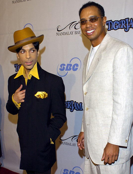 Tiger Woods welcomes Prince to his annual Tiger Jam, a benefit for the Tiger Woods Foundation.