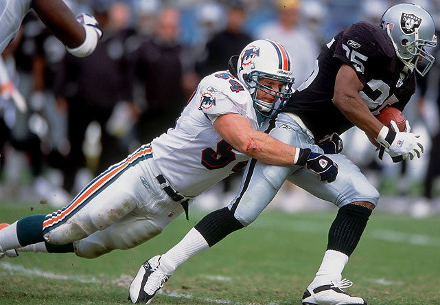 "A seven-time Pro Bowl linebacker and five-time First-Team All-Pro, Thomas racked up more than 1,100 tackles over a 12-year career spent mostly in Miami. For more than a decade, Thomas served as the backbone of the Dolphins' stingy defense at middle linebacker. He played in just five games with the Cowboys in 2008, and was cut after a preseason stint with the Chiefs in 2009. One of just three players in the NFL's modern era to register more than 100 tackles in each of his first 10 seasons in the league, Thomas signed a one-day contract with Miami in late May to retire a Dolphin. ""The game has been good to me,"" he said."