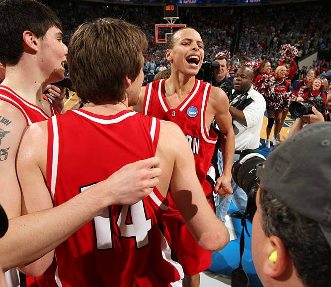 One name: Steph Curry. The nation's fifth-leading scorer led the No. 10 seed to remarkable victories over seventh seed Gonzaga, second seed Georgetown and third seed Wisconsin. Curry captivated the nation, dropping 40, 30 and 33 points, respectively, as well as 25 points in Davidson's heartbreaking Elite Eight loss to Kansas.