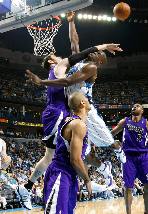 Argentine forward Andres Nocioni (shown brutally fouling Emeka Okafor of New Orleans) received 6 percent of the vote.