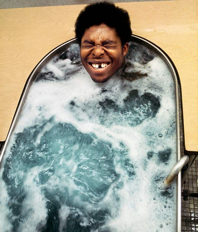 The 70s were a rough-and-tumble era in the NFL, which is why Steelers lineman White enjoyed this soak during training camp at St. Vincent College.