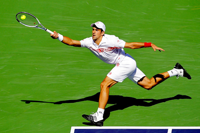Novak Djokovic of Serbia lunges for a shot during his 6-3, 2-6, 7-6 win over Philipp Kohlschreiber of Germany during the BNP Paribas Open on March 15 at Indian Wells, Calif.