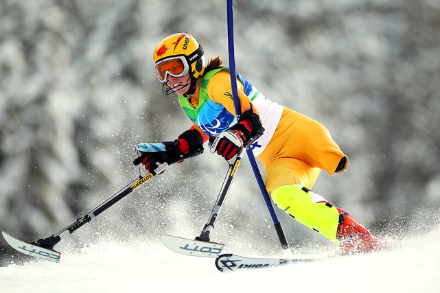 Andrea Dziewior of Canada competes in the slalom standing event on March 15 in Vancouver.  The event was won by Lauren Woolstencroft of Canada.