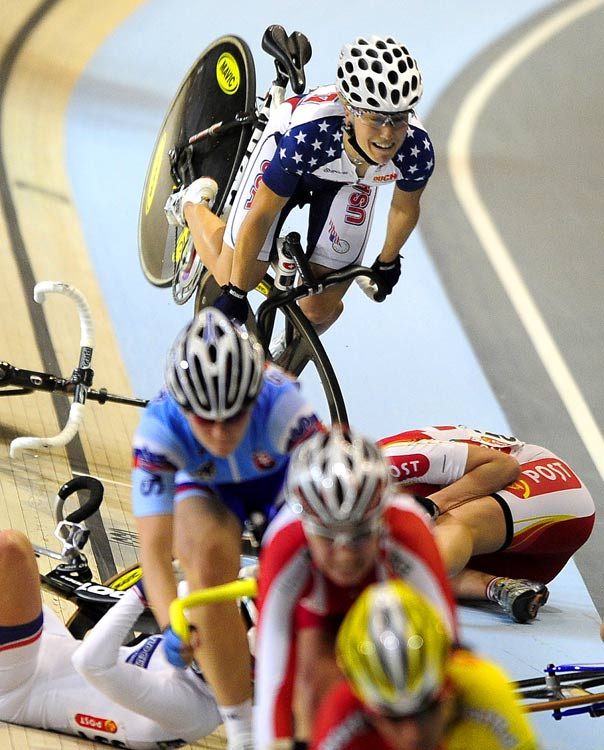 U.S. rider Shelley Evans goes airborne before falling on opponents during the Women's Scratch 10 km on March 26 in Ballerup near Copenhagen. Evans did not finish the event won by Pascale Jeuland of France.