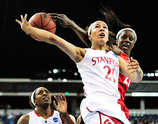 Stanford guard Rosalyn Gold-Onwude gets stripped by Georgia forward Porsha Phillips during their NCAA  Tournament game on March 27 at ARCO Arena in Sacramento. Stanford defeated Georgia 73-36 and edged Xavier on March 29 to advance to the Final Four.