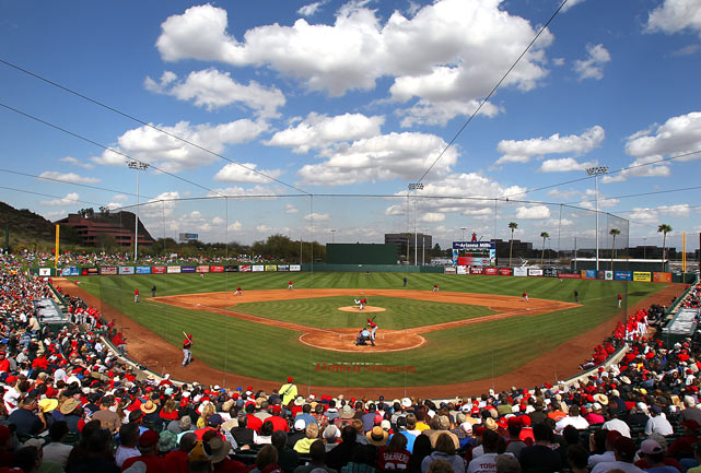 The Cincinnati Reds take on the Los Angeles Angels of Anaheim during spring training play in Tempe, Ariz., on March 10. The Reds defeated the Angels 6-0.