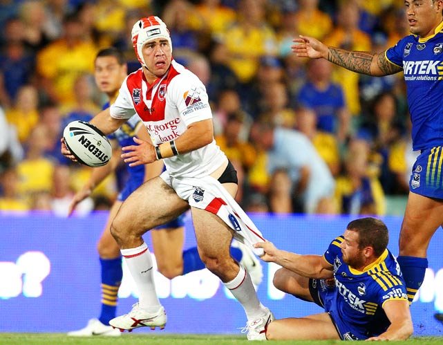 Jamie Soward of the Dragons gets caught from behind as he looks for support during a match between the Parramatta Eels and the St George Illawarra Dragons on March 12 in Sydney, Australia.