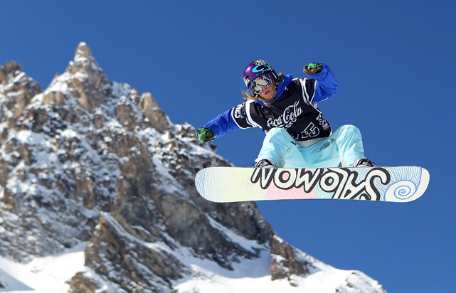 Jenny Jones of Great Britain in action in the Snowboard Slopestyle during the Winter X Games Europe on March 12 in Tignes, France.