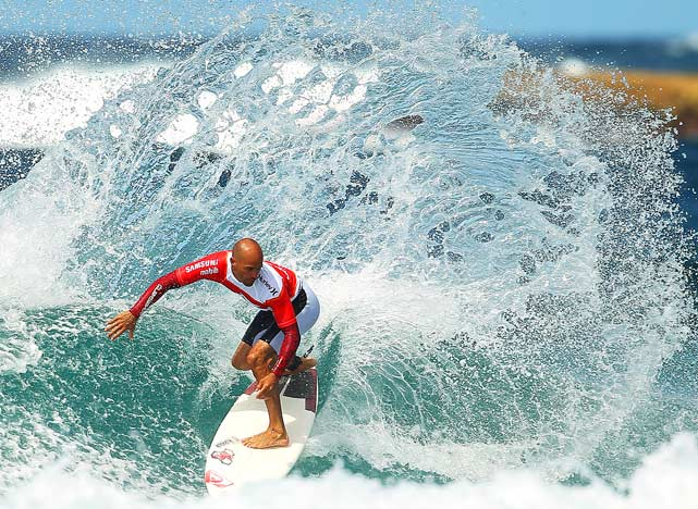 Kelly Slater of the United States performs a cutback during an aerial expression session on day one of Surfsho at Bondi Beach on March 12 in Sydney, Australia.