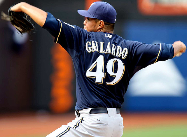 I have a firm policy against drafting pitchers in the first five rounds of 5x5 mixed-league drafts. But that stubbornness could easily fall by the wayside if Gallardo remains up for grabs around the 55th pick. Simply put, Gallardo is finally ready to join the elite strata of fantasy pitchers -- assuming his walks/9 rate comes down, as expected. Say hello to baseball's next dynamo. <br><b>Projections:<br> 15 wins, 212 strikeouts, 3.48 ERA, 1.28 WHIP.