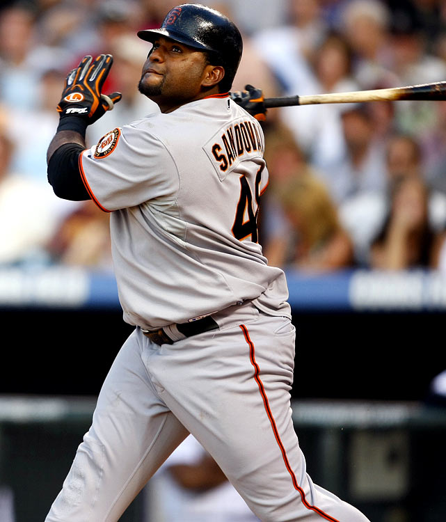Just imagine what kind of damage Sandoval could do if he had better protection in the Giants' lineup. And then imagine how many runs and steals a slimmed-down Sandoval could register in only his second full season. Well, there are reports that Sandoval lost significant weight during the offseason, which should boost his runs and steals to 85 and 11, respectively. As for the lineup-protection part, he still must overcompensate for the power-deficient travails of Eugenio Velez, Freddy Sanchez, Edgar Renteria, Aaron Rowand and likely Mark DeRosa and Aubrey Huff. <br><b>Projections:<br> 25 HRs, 94 RBIs, 85 runs, 11 steals, .331 average.</b>