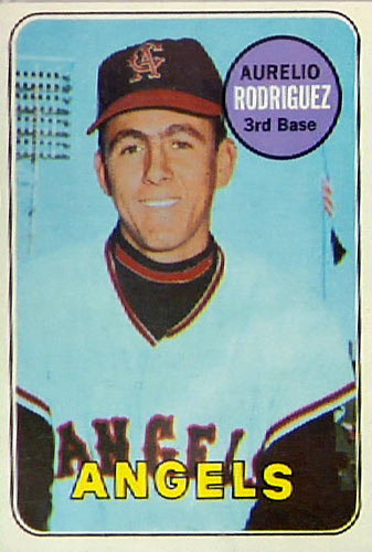Rodriguez had a lengthy career in the 1970s and 1980s and (we think) made it onto many baseball cards, but that's not him on this 1969 Topps card. It's Angels' batboy Leonard Garcia.