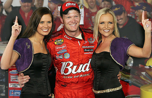 "Junior has a good time celebrating with the ""Crown Royal Girls"" after winning the Crown Royal 400 in 2006."